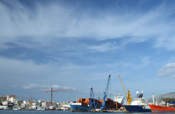 Port of Trapani. Ships and vessels moored in the port of Trapani - Sicily Royalty Free Stock Photo