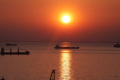 Port of Trieste, Italy - Sunset on sea Royalty Free Stock Images