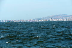 A port in the Turkish city of Izmir wide panorama of high waves Stock Images