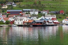 Port of Undredal. On the shore of Aurlandsfjord, Sognefjord, Norway Royalty Free Stock Image