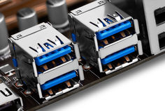 Port USB sur la carte mère photo stock