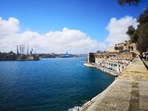 Port of Valletta Malta from the bastions of the city royalty free stock photography