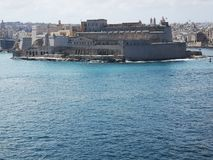 Port of Valletta Malta from the bastions of the city stock image