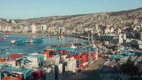 Port of Valparaiso, Chile. View of the Port of Valparaiso, Chile stock footage