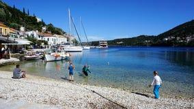 Port van Fiscardo in der Insel Kefalonia, Griechenland Lizenzfreies Stockfoto