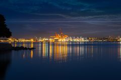 Port of Vancouver BC Canada in the Evening Royalty Free Stock Photo