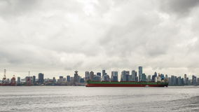 Port of Vancouver BC with City Skyline Time Lapse. Port of Vancouver BC British Columbia Canada with City Skyline Moving Stormy Clouds Ferries and Boats Time stock footage