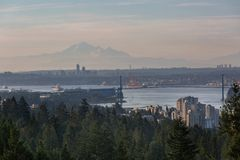 Port of Vancouver BC Morning View in Canada Royalty Free Stock Images