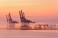 Port of Vancouver Cranes, Morning Fog Royalty Free Stock Images