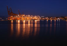 The Port of Vancouver by night Stock Image