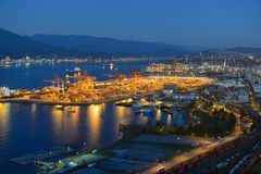 Port of Vancouver night view, BC, Canada Stock Photography