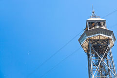 Port Vell Aerial Tramway in Barcelona. Tower of Port Vell Aerial Tramway in Barcelona Royalty Free Stock Photo