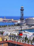 Port Vell Aerial Tramway in Barcelona Royalty Free Stock Photos