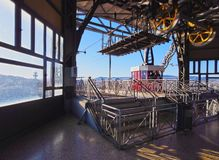 Port Vell Aerial Tramway in Barcelona Royalty Free Stock Image