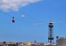 Port Vell Aerial Tramway in Barcelona Stock Photography