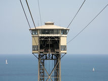 Port Vell Aerial Tramway station. In Barcelona Stock Images