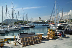 Port Vell. Barcelona, Spain. Ships and yachts in the Port Vell. Barcelona, Spain Stock Photo
