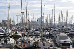 Port Vell, Barcelona. Very crowded yacht parking space in famous port Vell, Barcelona Spain Royalty Free Stock Image
