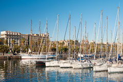 Port Vell, Barcelona. A row of yachts at Port Vell in Barcelona Stock Photos