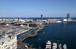 Port Vell in Barcelona. Aerial view of Port Vell in Barcelona Royalty Free Stock Image