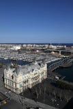 Port Vell in Barcelona. Aerial view of Port Vell in Barcelona Stock Photo