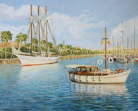 Port Vell in Barcelona. An oil painting on canvas of the old yacht harbor Port Vell in Barcelona, Spain in a bright sunny day with a sail ship, boats and Stock Photos