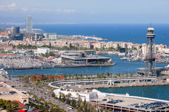 Port Vell in Barcelona from Above Royalty Free Stock Images