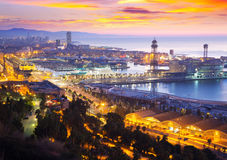 Port Vell at Barcelona in dawn. Time.  Catalonia, Spain Royalty Free Stock Photos