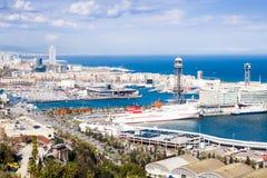 Port Vell of Barcelona from Montjuic. Birdview Port Vell of Barcelona from Montjuic hill. Catalonia Stock Photo