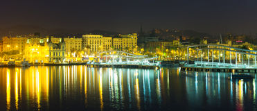 Port Vell at Barcelona in night Stock Photos
