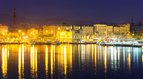 Port Vell at Barcelona in night stock photography