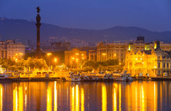 Port Vell and Barcelona  in night.  Spain Royalty Free Stock Image
