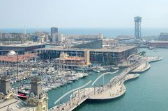 Port Vell - Barcelona. Port Vell Rambla de Mar photographed from the top of the Columbus Monument Monument a Colom - Barcelona, Catalonia, Spain Royalty Free Stock Image