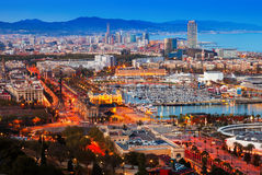Port Vell in Barcelona during sunset. Catalonia. Top view of Port Vell in Barcelona during sunset. Catalonia, Spain Royalty Free Stock Photos