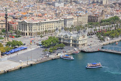 Port Vell. Bird's eye view on Port Vell in Barcelona Royalty Free Stock Images