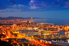 Port Vell and cityspace in Barcelona during evening. Catalonia, Spain royalty free stock images