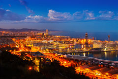 Port Vell and cityspace of Barcelona in evening Royalty Free Stock Photos