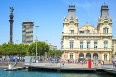 Port Vell and Columbus Monument in Barcelona, Spain Royalty Free Stock Photos