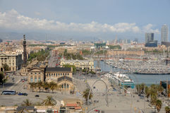 Port Vell district  in Barcelona. Aerial view of the Port Vell district of Barcelona, Spain Stock Images