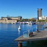 Port Vell ed il monumento di Columbus a Barcellona, Spagna Fotografia Stock Libera da Diritti