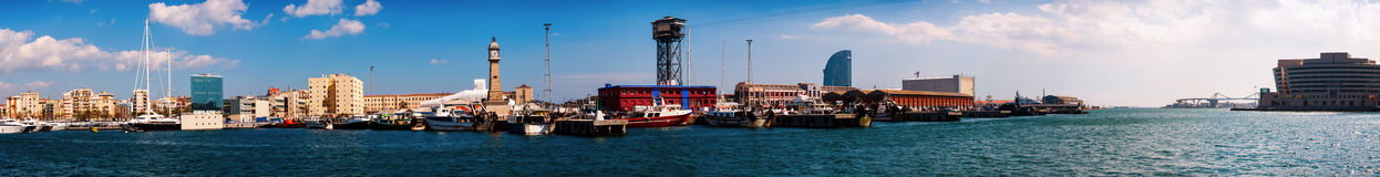 Port Vell and La Barceloneta district in Barcelona Royalty Free Stock Photography