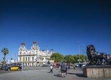 Port vell landmark catalan building in barcelona port area spain Royalty Free Stock Photos
