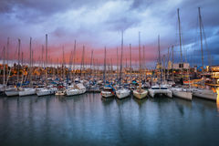 Port Vell Marina at Twilight in Barcelona Royalty Free Stock Photo