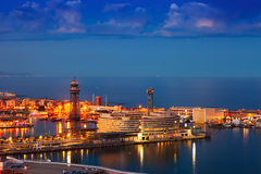 Port Vell in night. Barcelona Royalty Free Stock Image