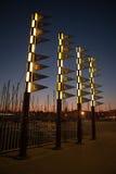 Port Vell på natten arkivbilder