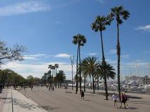 Port Vell promenade in Barcelona Royalty Free Stock Photos