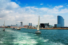 Port Vell from sea. Barcelona, Spain Stock Images