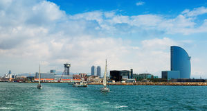 Port Vell from sea side. Barcelona, Spain Stock Photos