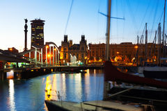 Port Vell during sunset. Barcelona Stock Photo