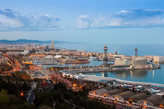 Port Vell during sunset from Montjuic Royalty Free Stock Photos